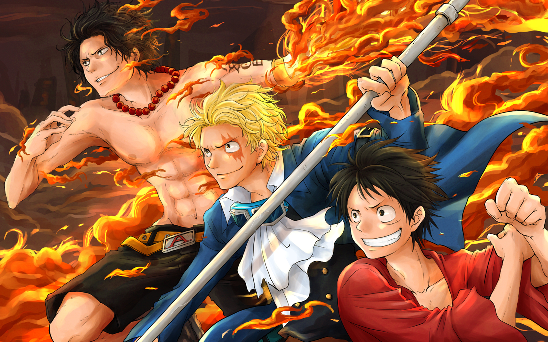 one piece luffy and ace wallpaper desktop